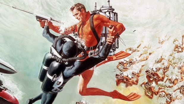 1965 Thunderball 28 [underwater attack painting]
