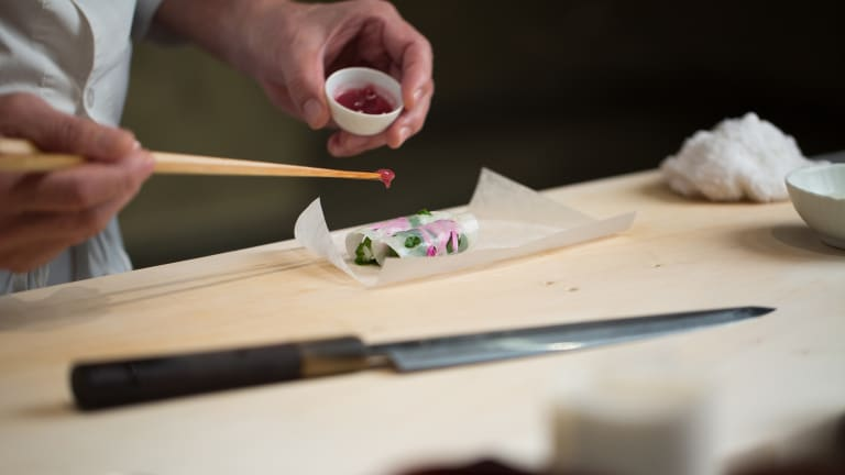 Watch America's First 3 Star Michelin Sushi Chef Create Masterpieces