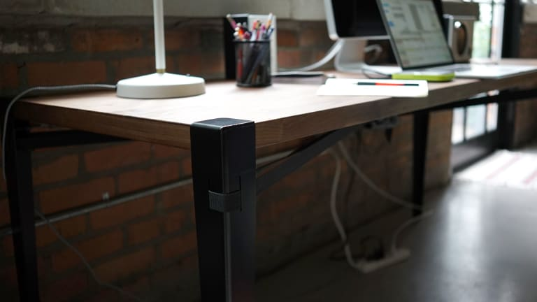Stunning Slab Of Wood + Floyd Utility Set = Coolest Desk Possible