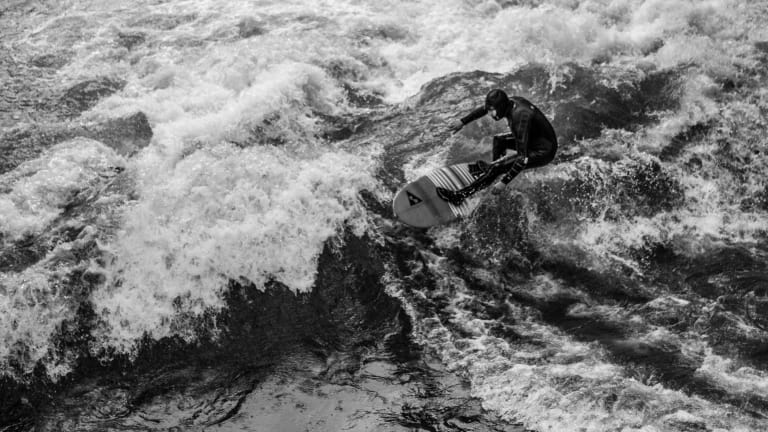 A Black & White Showcase of River Surfers in Germany