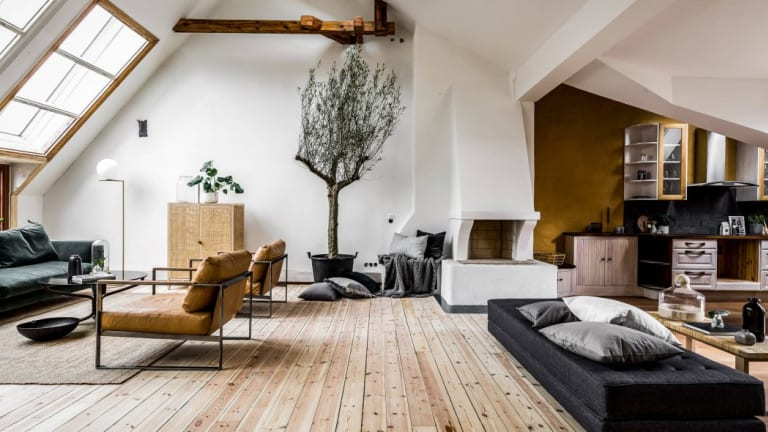 An Unused Attic Was Transformed Into This Impossibly Stylish Bachelor Pad