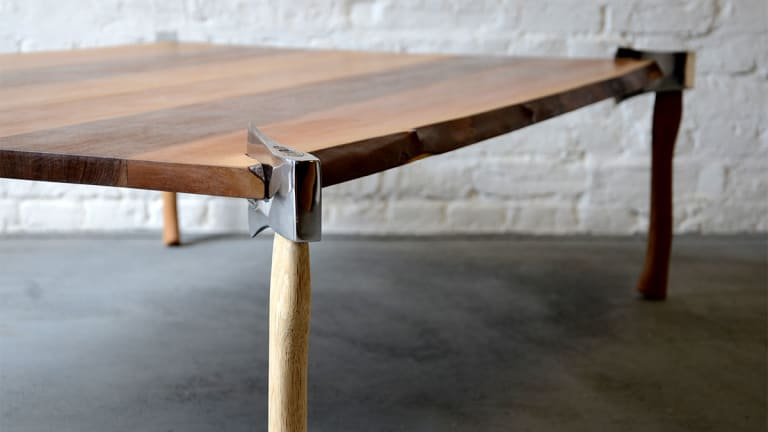 Dining Table Made of Axes Is Dangerously Beautiful