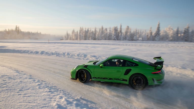 Watch a Porsche GTS R3 Ski Its Way Through a Snow-Covered Track