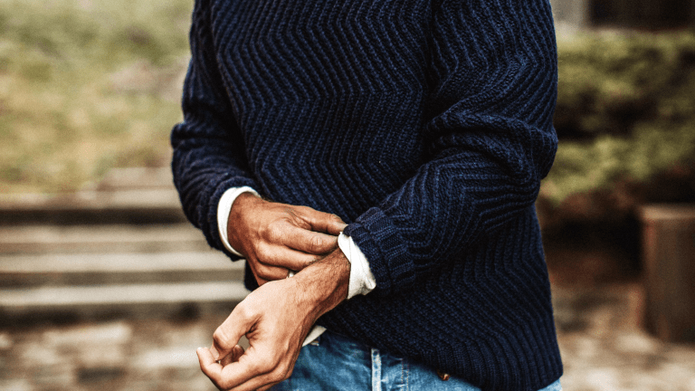 This Wave-Patterned Wool Blend Sweater is Here to See You Through Winter