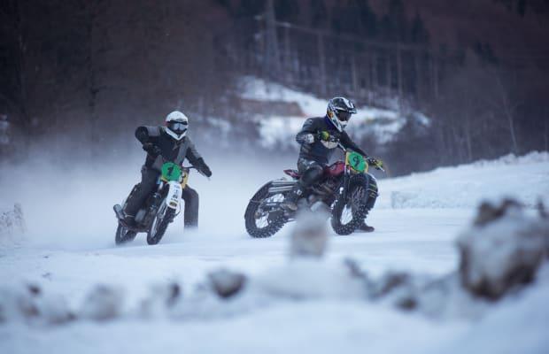 Watch Cool Custom Bikes Slide Their Way Through An Italian Ice-Racing Circuit