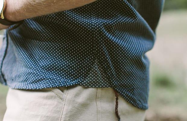 Look Like The Man In This Stylish Indigo Jacquard Utility Shirt