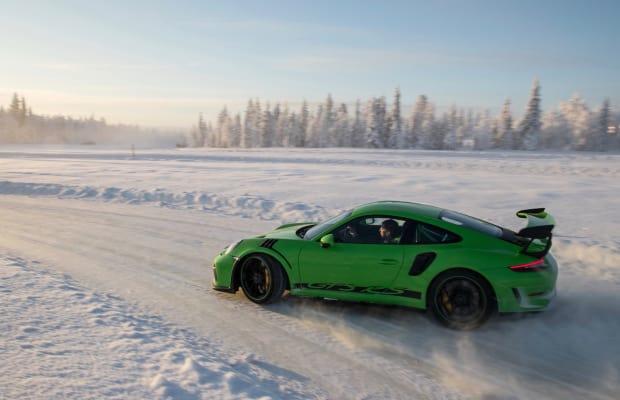 Watch a Porsche GTS R3 Ski Its Way Through a Snow-Covered Track