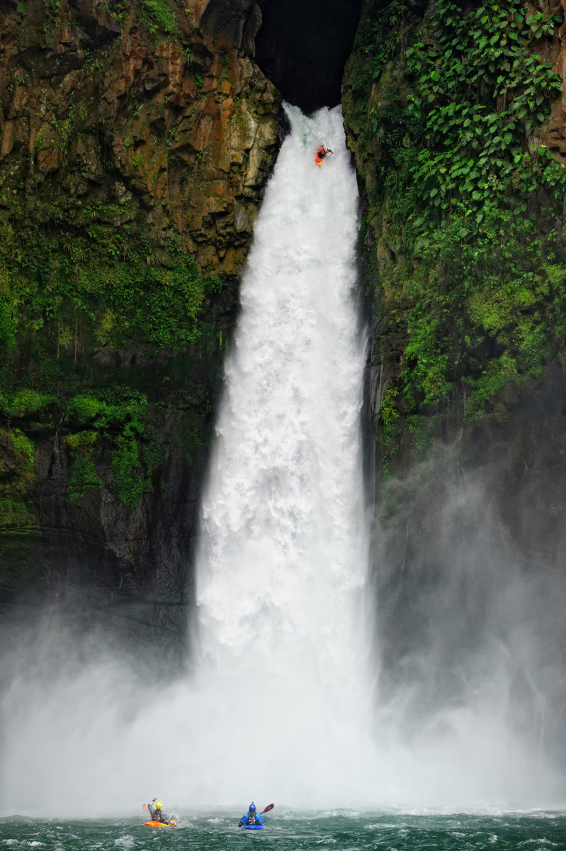 Red Bull Athlete Rafa Ortiz Runs the 128.6 foot tall Big Banana Waterfall in Vercruz Mexico.