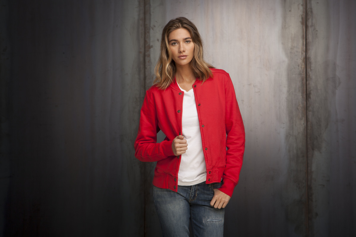 red women's baseball jacket