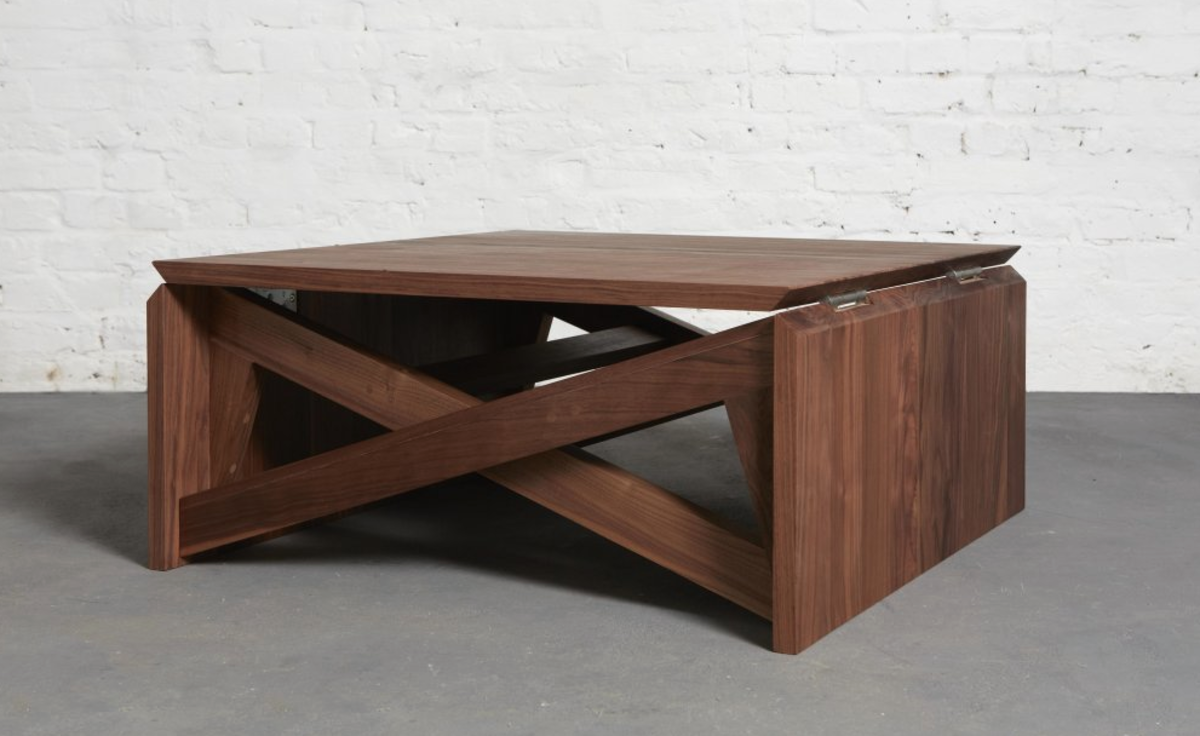 This minimal coffee table easily transforms into dining for Minimal table design