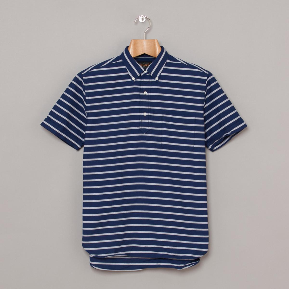 beams-plus-ss-button-down-border-shirt-navy