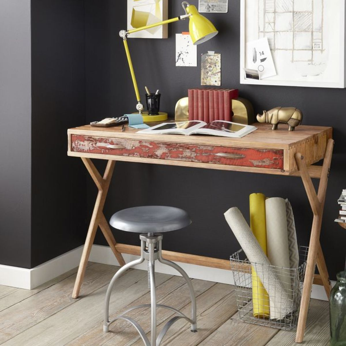 Reclaimed Pine Cross Base Desk: If your place has a rustic and industrial  look, this one made from reclaimed pine is a solid option.