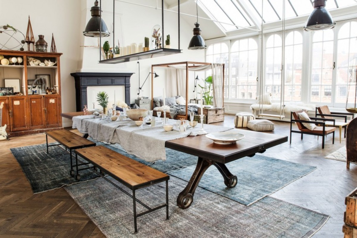 this industrial loft style studio apartment is flat out amazing