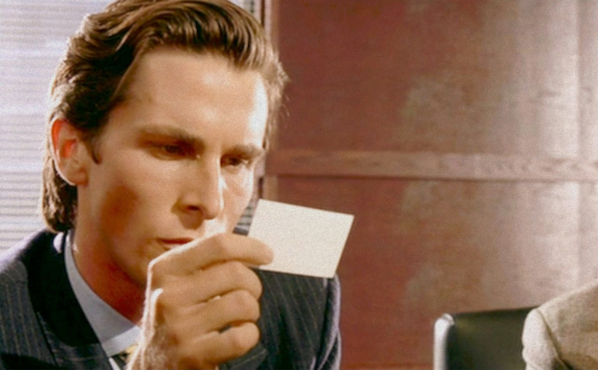 american psycho director anatomizes iconic business card scene airows - Patrick Bateman Business Card